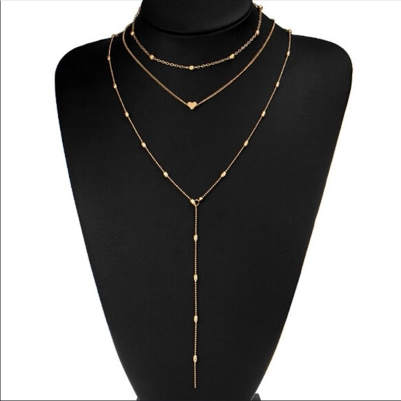 984d65750f3ea Bohemian multi layer heart charm, teardrop choker Boutique